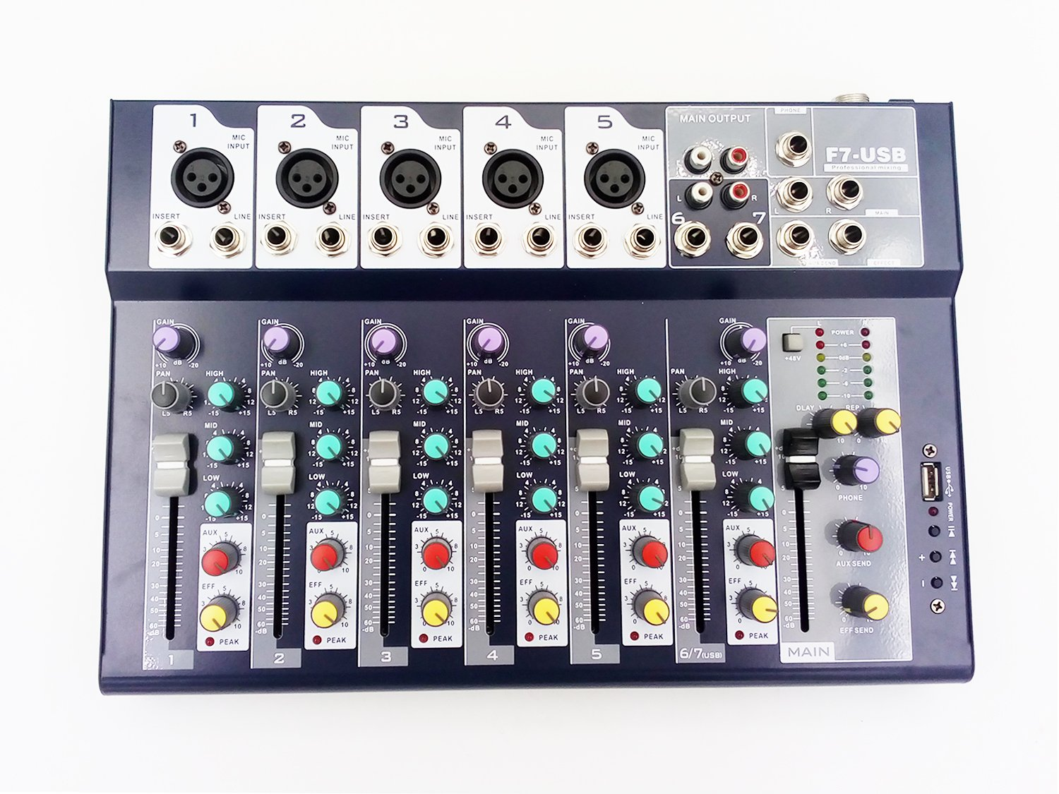 Weymic Professional Mixer | 7-Channel 2-Bus Mixer with USB Input 48V Phantom Power for Recording DJ Stage Karaoke Music Application