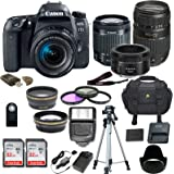 Canon EOS 77D DSLR Camera w/ 5 Lens Bundle including 2.2x Aux Telephoto Lens + 0.43 Aux Wide angle Lens + 2Pcs High Speed 32GB Memory Card + New Accessories with Premium Commander Kit (19 Items)