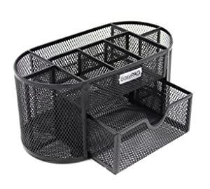 EasyPAG Mesh Desk Organizer Office Supplies Caddy with Drawer,Black