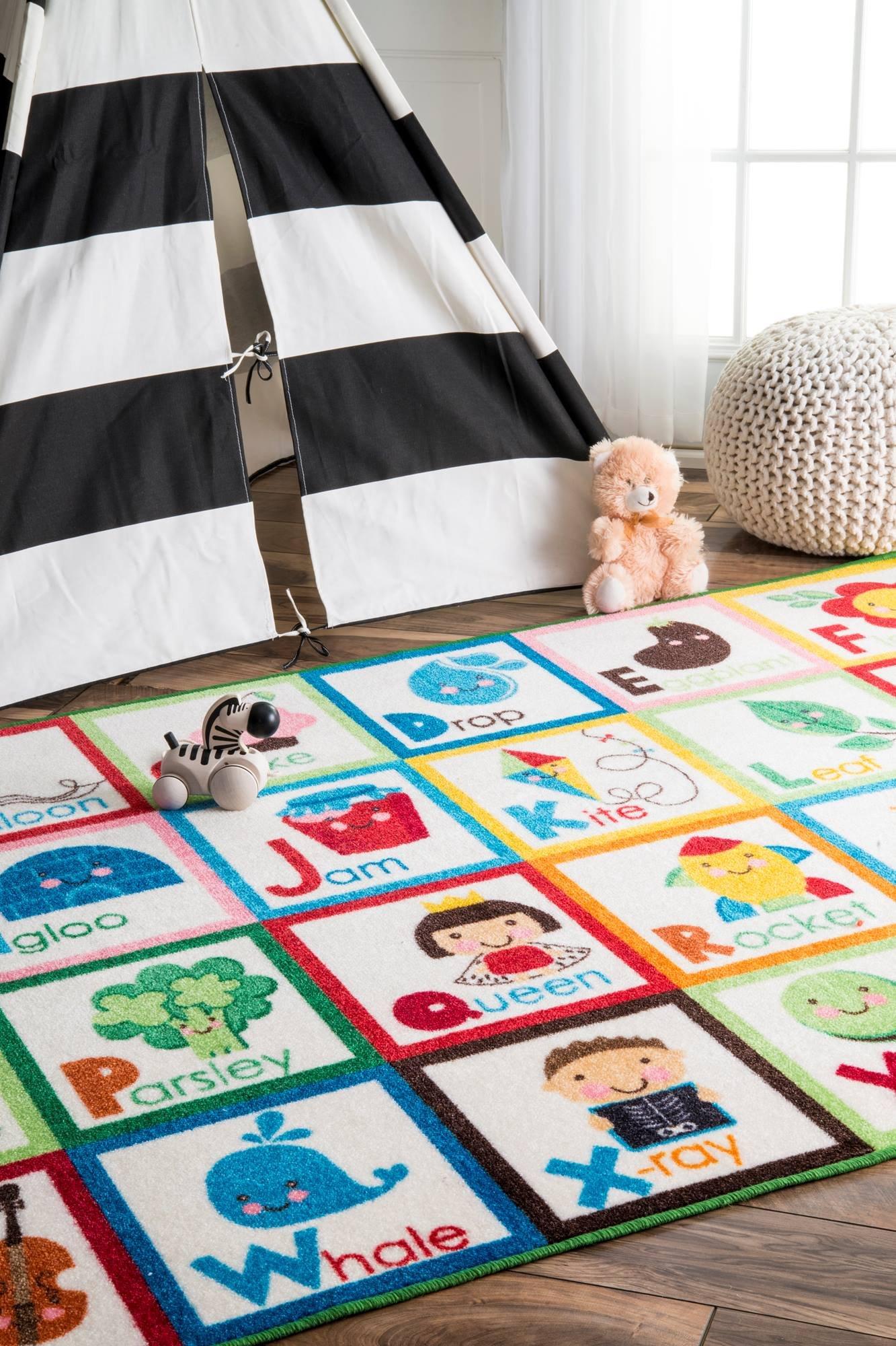 nuLOOM Nursery Alphabet Block Cartoons Kids Area Rugs, 5' x 7' 5'', Multicolor