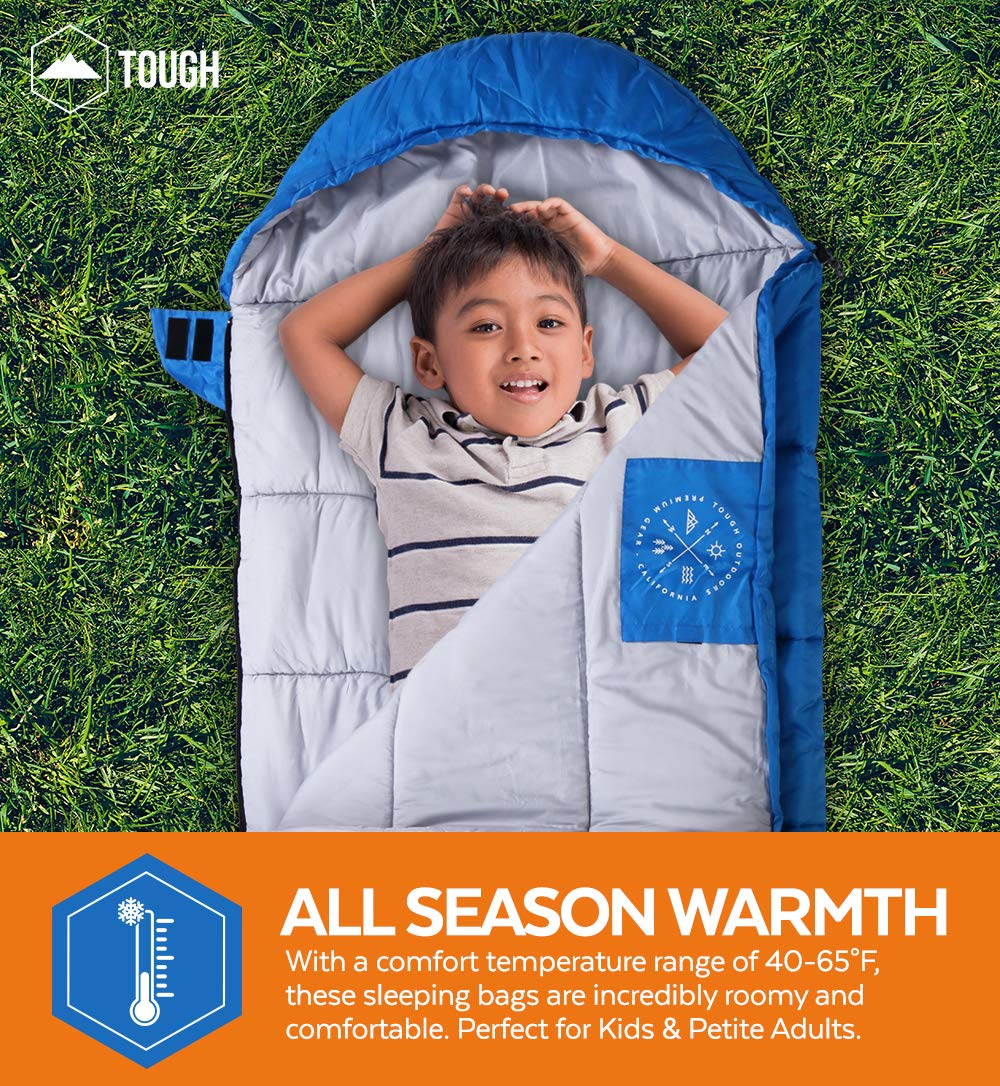 """Tough Outdoors Kids Sleeping Bag for Girls, Boys, Youth & Teens - Perfect for Warm & Cool Weather Camping, Children's Sleepovers & Nap Time - 3-Season, Lightweight & Compact - Fits Kids up to 5'1"""" 4"""