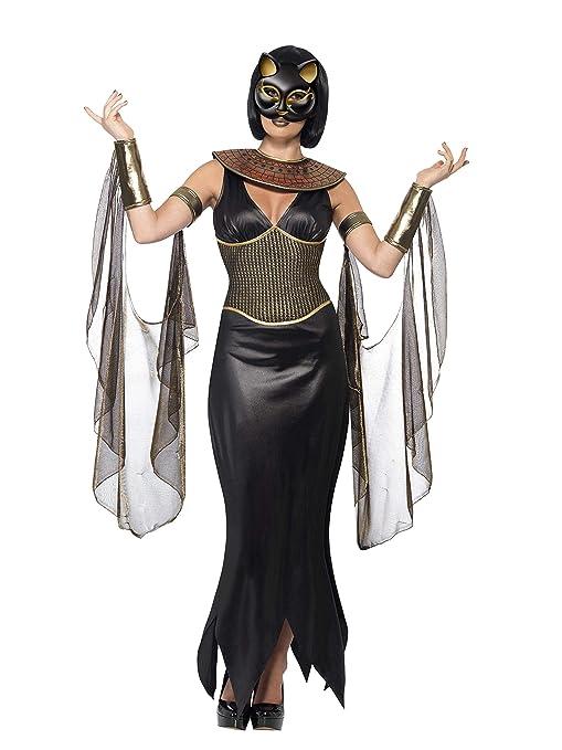 Smiffys Bastet la diosa del gato / vestido con cuello / Drapeado Mangas y Máscara (