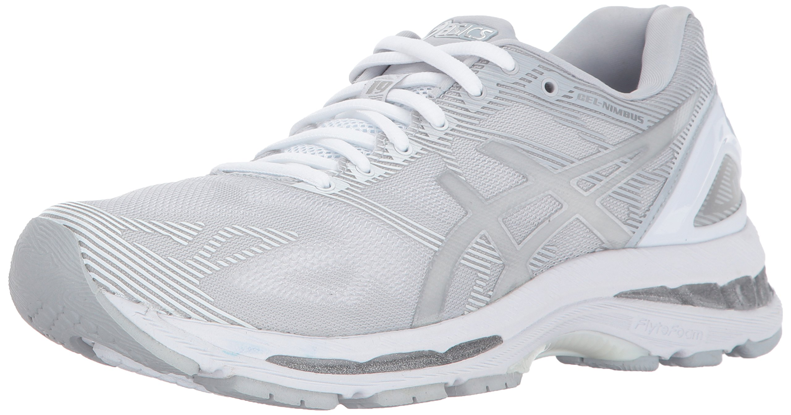 watch 5d2af 5592d ASICS Womens Gel-Nimbus 19 Running Shoe, Glacier Grey/Silver/White, 8.5  Medium US