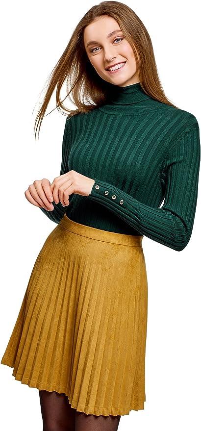 oodji Ultra Mujer Su/éter de Cuello Alto Texturizado de Terciopelo