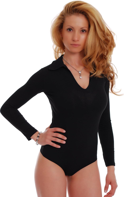 TIARA GALIANO Women Cotton Bodysuit Long Sleeve Collar Open V-Neck Thong - Made in EU Leotard Jumpsuits Tops 1769