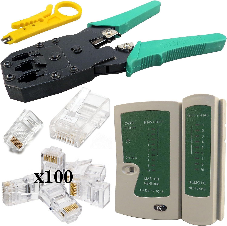 tester herramienta de inserci/ón pelador Malet/ín con crimpadora para RJ11 y RJ45 destornilladores y conectores NKIT2