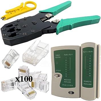 Maletín con crimpadora, para RJ11 y RJ45, pelador, tester, herramienta de inserción, destornilladores y conectores NKIT2: Amazon.es: Electrónica