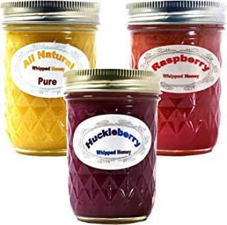 product image for Queen Bee Gardens Naturally Flavored Whipped Wyoming Honey - Variety Pack: Raspberry, Huckleberry, and All Natural - 3 Pack
