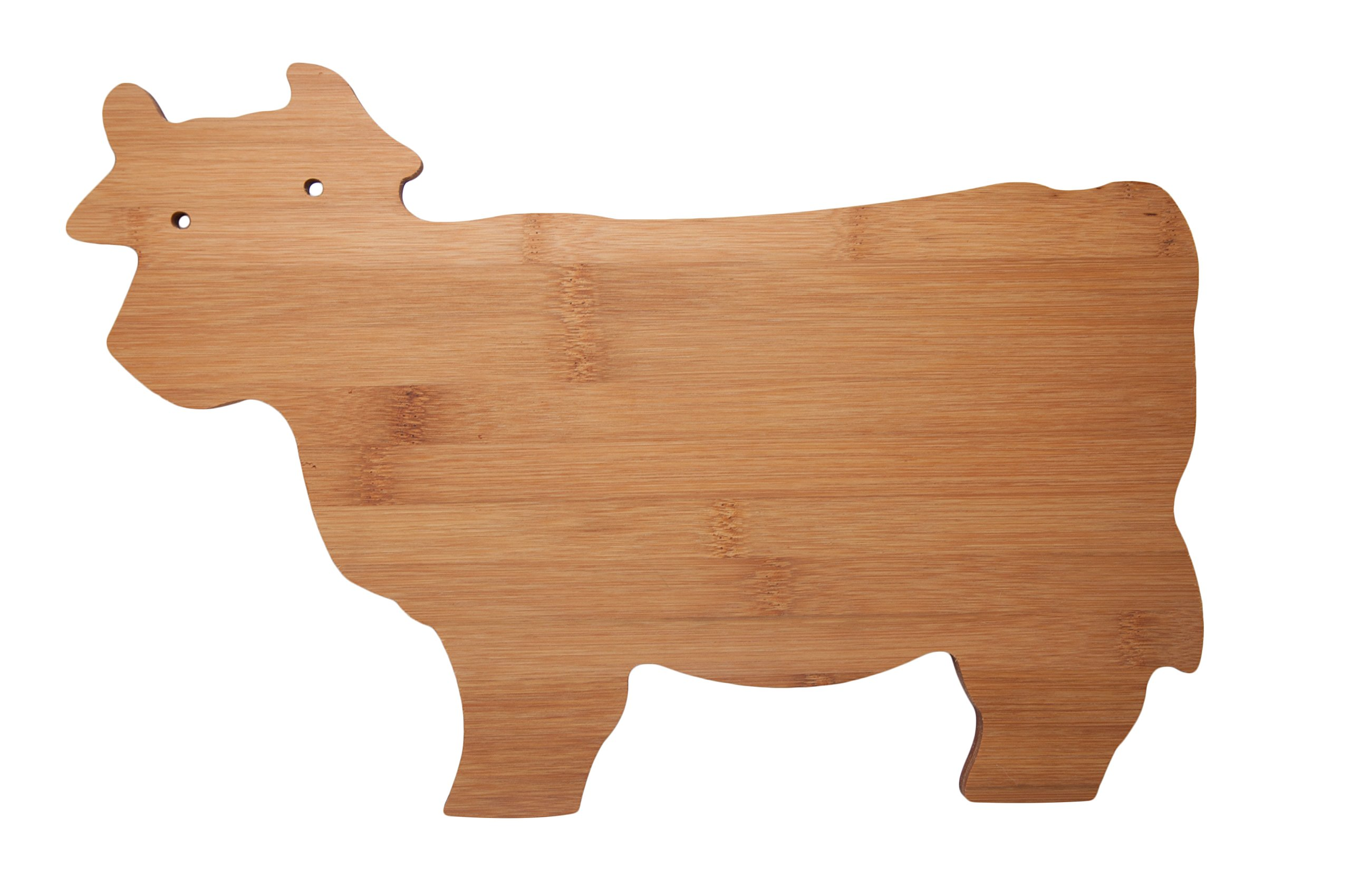 All Natural Bamboo Cutting Board 14 Inch Cow Shaped Kitchen Country Decor Bar Serving Board Bamboo Cheese Plate Farmhouse