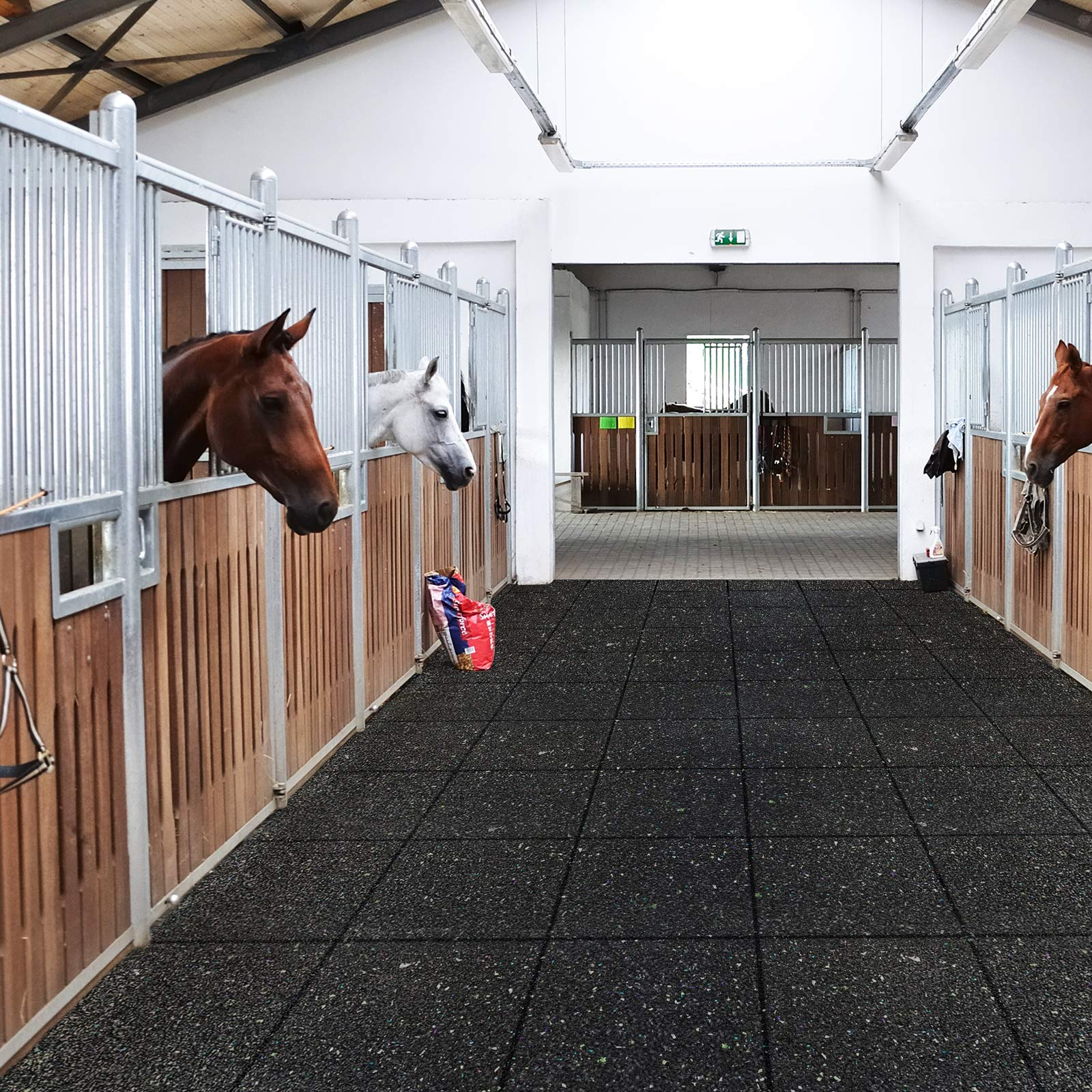 Ergocell Recycled Rubber Floor Mat – Shock Absorbent Gym Mat Flooring & Horse Stall Mat | Three Thicknesses, Multiple Sizes | 3/8'' - 2' x 2' by Ergocell (Image #5)