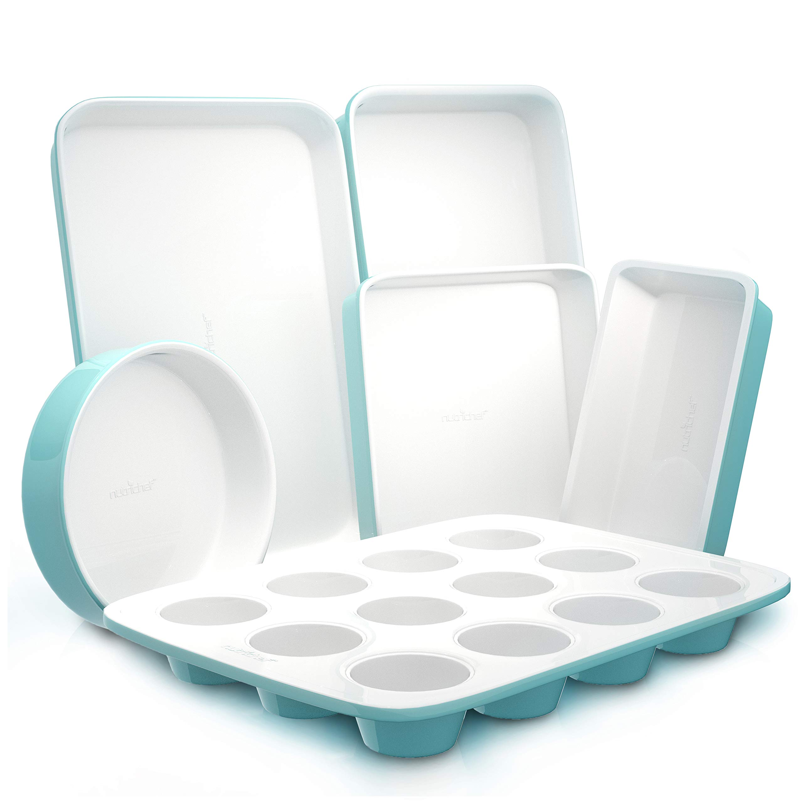 6-Piece Kitchen Oven Baking Pans - Professional Premium Non-Stick Cookie Sheet Pan Set, Stylish & Attractive Green Pan & White Inside Made of Ceramic Coating for Baking - Nutrichef NCBK6CT5