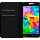 PhoneNatic Kunst-Lederhülle für Samsung Galaxy Grand Prime Book-Case schwarz Tasche Galaxy Grand Prime Hülle + 2 Schutzfolien