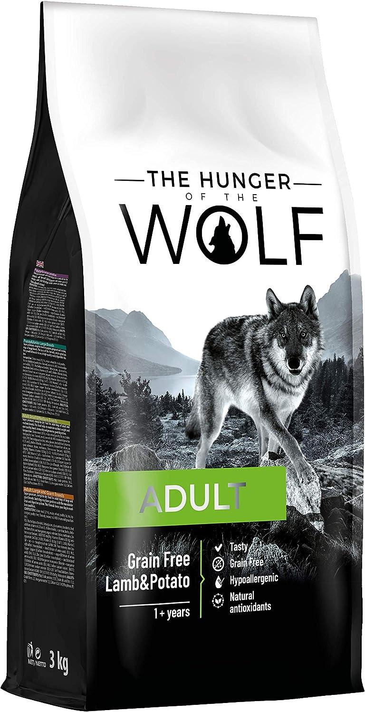 The Hunger of the Wolf - Pienso de cordero y patatas para perros adultos de todas las razas, fórmula delicada sin cereales, 3 kg