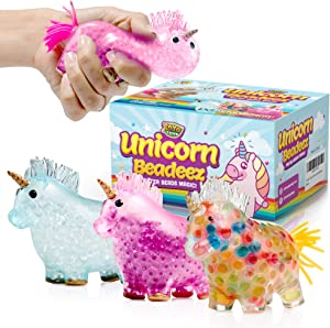 YoYa Toys Beadeez Unicorn Squishy Stress Balls Toy (3-Pack) for Girls, Boys, or Adults - Colorful, Gel Water Beads Balls Inside - Promote Anxiety and Stress Relief - Promote Calm Focus and Play