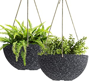 LA JOLIE MUSE Hanging Planters for Outdoor Plants - 10 Inch Indoor Flower Pots with Drainage, Plants Pots, Speckled-Black, Set of 2