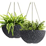 Hanging Planters for Outdoor Plants - 10 Inch Indoor Flower Pots with Drainage, Plants Pots, Speckled-Black, Set of 2