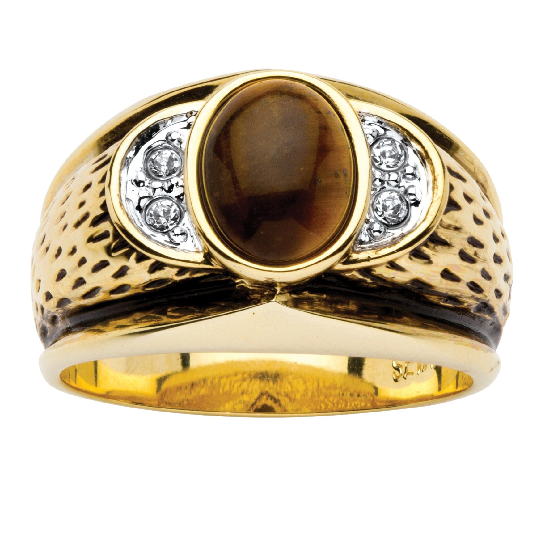 Lux Men's 14K Yellow Gold-plated Antiqued Oval Cut Genuine Brown Tiger's Eye and Crystal Ring