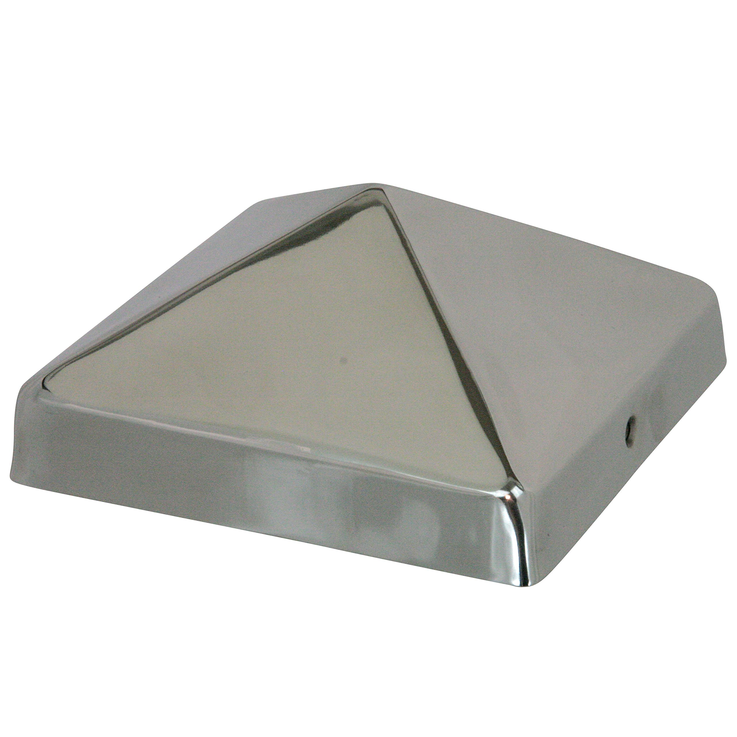 6x6 Stainless Steel Pyramid Post Cap by Captiva - Extended Lip - Stainless Steel - Will Not Rust - (5-1/2'' x 5-1/2'')