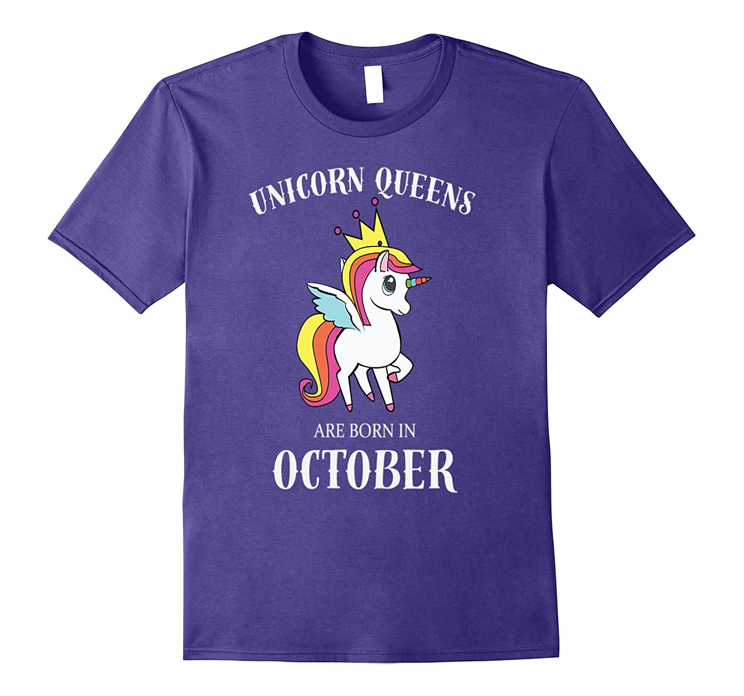 unicorn queens are born in october birthday rainbow t shirt-Vaci