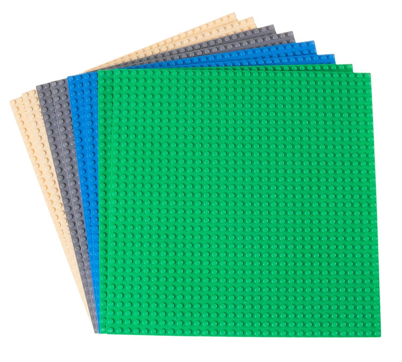 """Strictly Briks - Klassische Bauplatten - 100 % Kompatibel mit Allen Führenden Marken - Zum Bauen von Türmen, Tischen & Mehr - 10 x 10"""" (25,4 x 25,4 cm) - 8 Stück - Blau, Grau, Grün & Sandfarben 4 cm) - 8 Stück - Blau Grün & Sandfarben P05410X108PKB"""