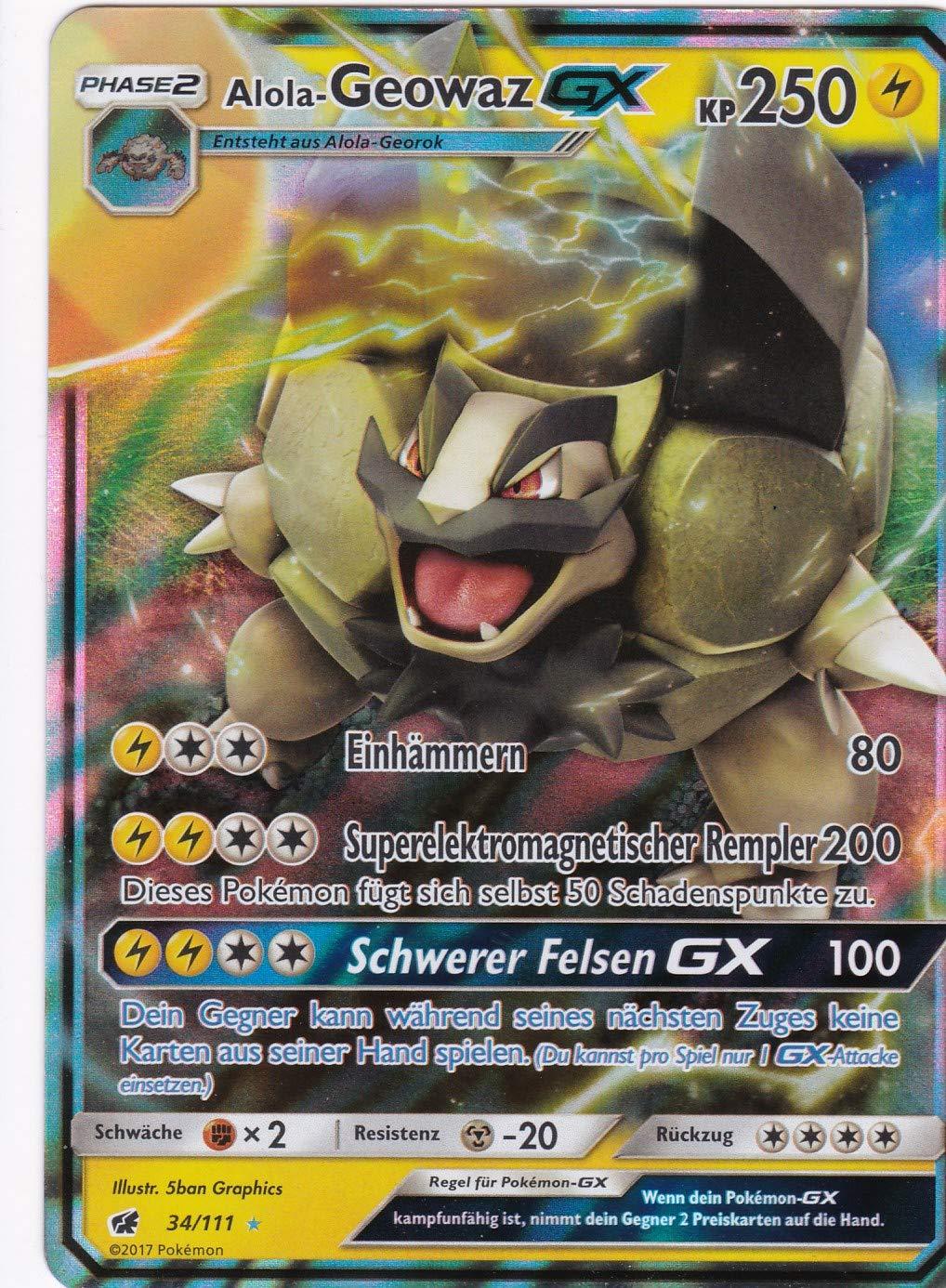 Deutsch 34//111 Alola-Geowaz GX Pokemon Rare Holo GX Aufziehen der Sturmr/öte