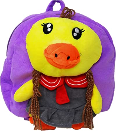 Oytra Purple Fur Soft Bag for Kids 1-3 Years - Chick Plush Bag