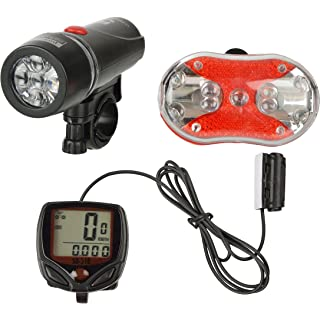 Dark Horse Bicycle LED Front Head   Rear Light Combo With Wired Computer Cyclocomputer Speedometer  Black