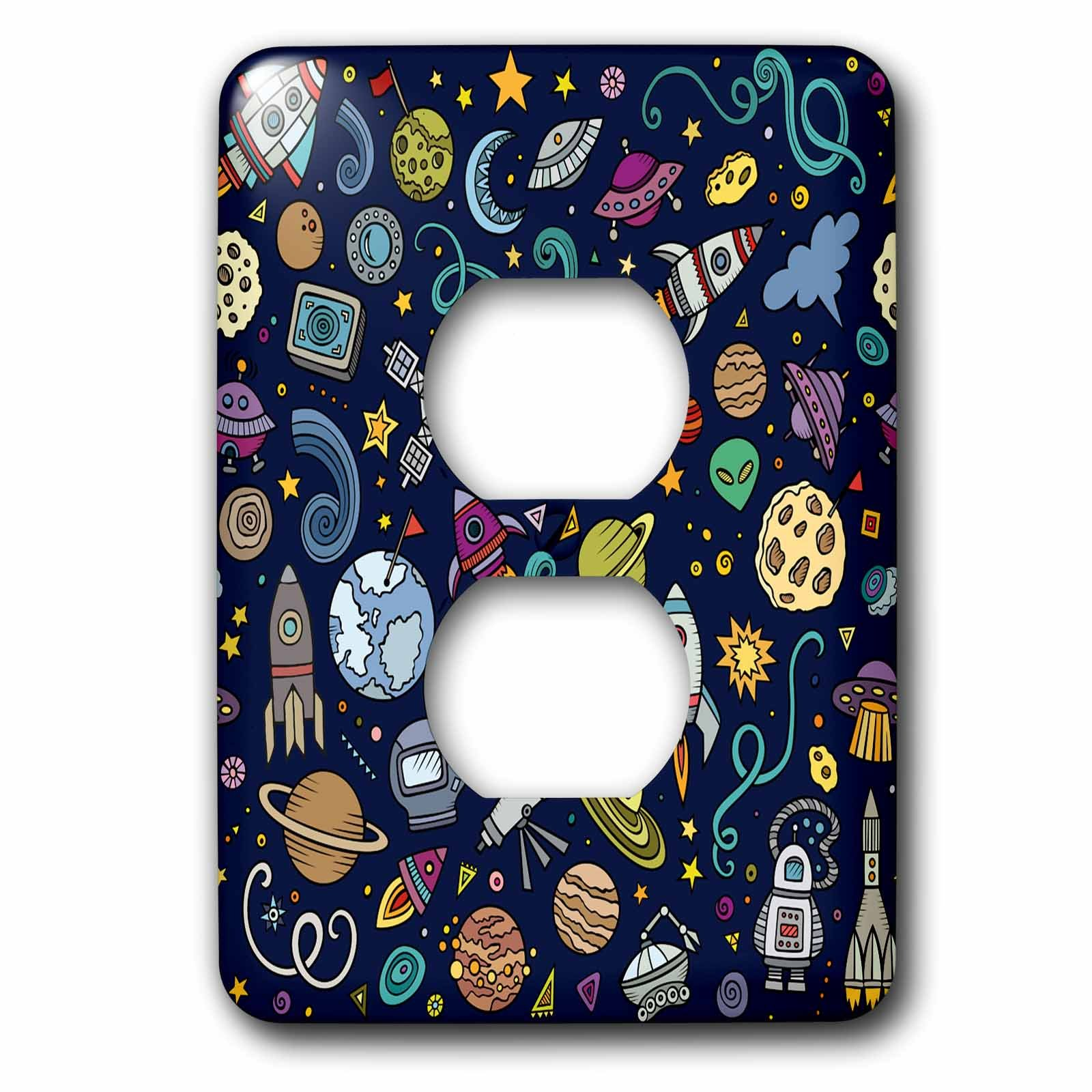 3D Rose lsp_251750_6 Cartoon Space Explorer Birthday Kids Theme Spaceship Astronaut 2 Plug Outlet Cover