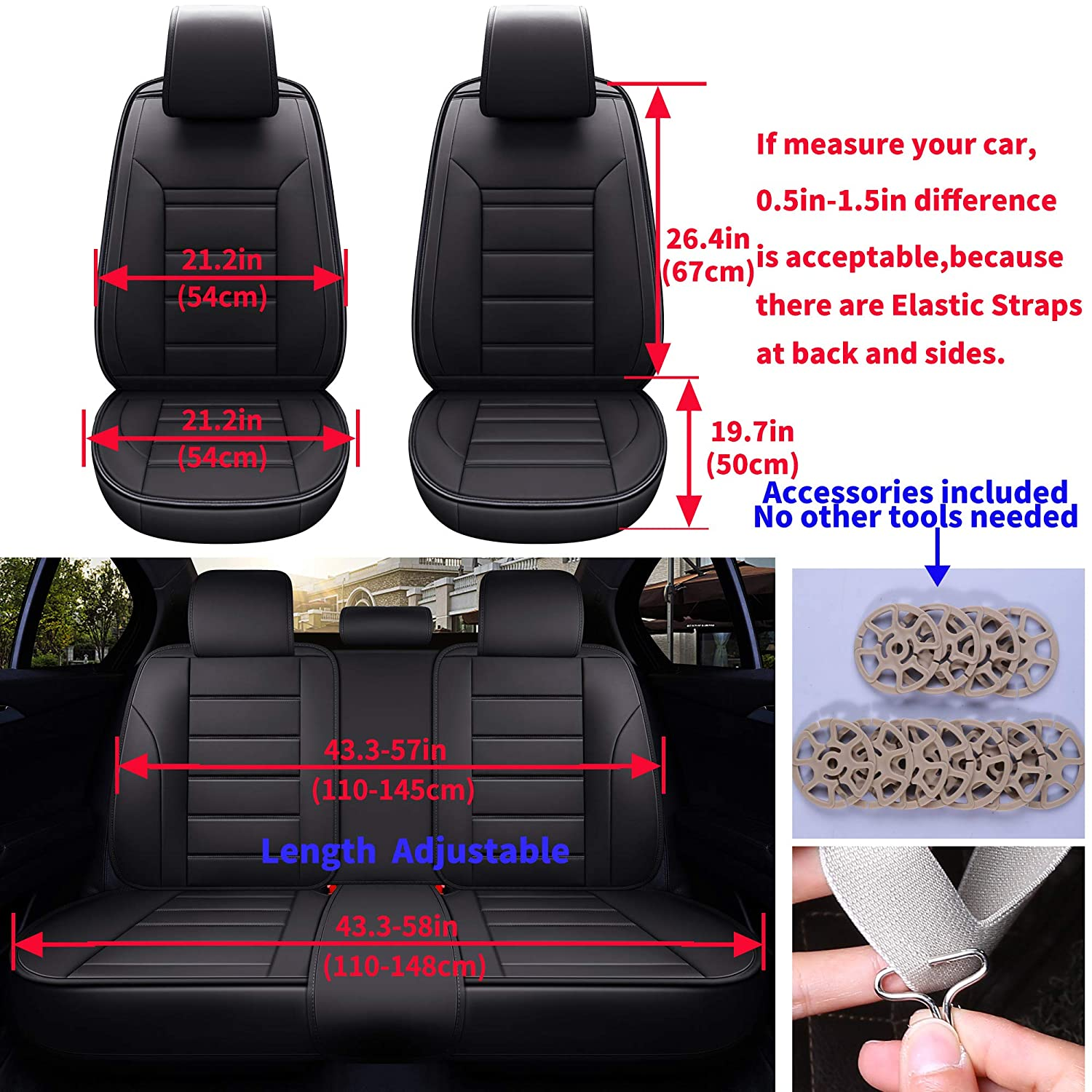 Double Line Pure Black INCH EMPIRE Car Seat Cover Full Set Waterproof PU Leather Cushions Universal Fit Simple Style Front and Rear-Adjustable Length