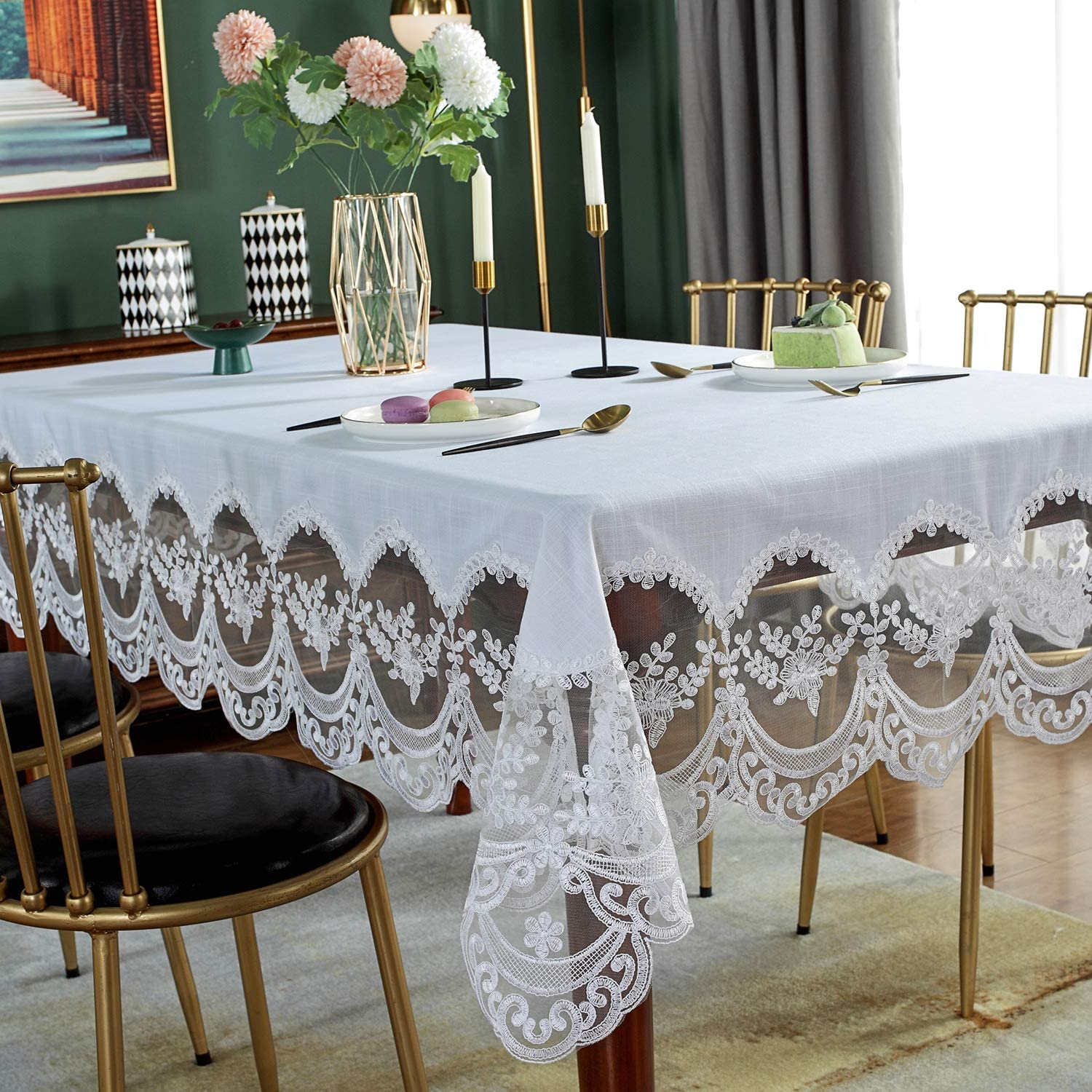 """SUTAVIA Lace Embroidered Table Cloth, Classic Rectangular Oblong Macrame Table Cover, for Kitchen Dining Picnic Table,Outdoor and Indoor Use (White, 60""""×120""""): Kitchen & Dining"""