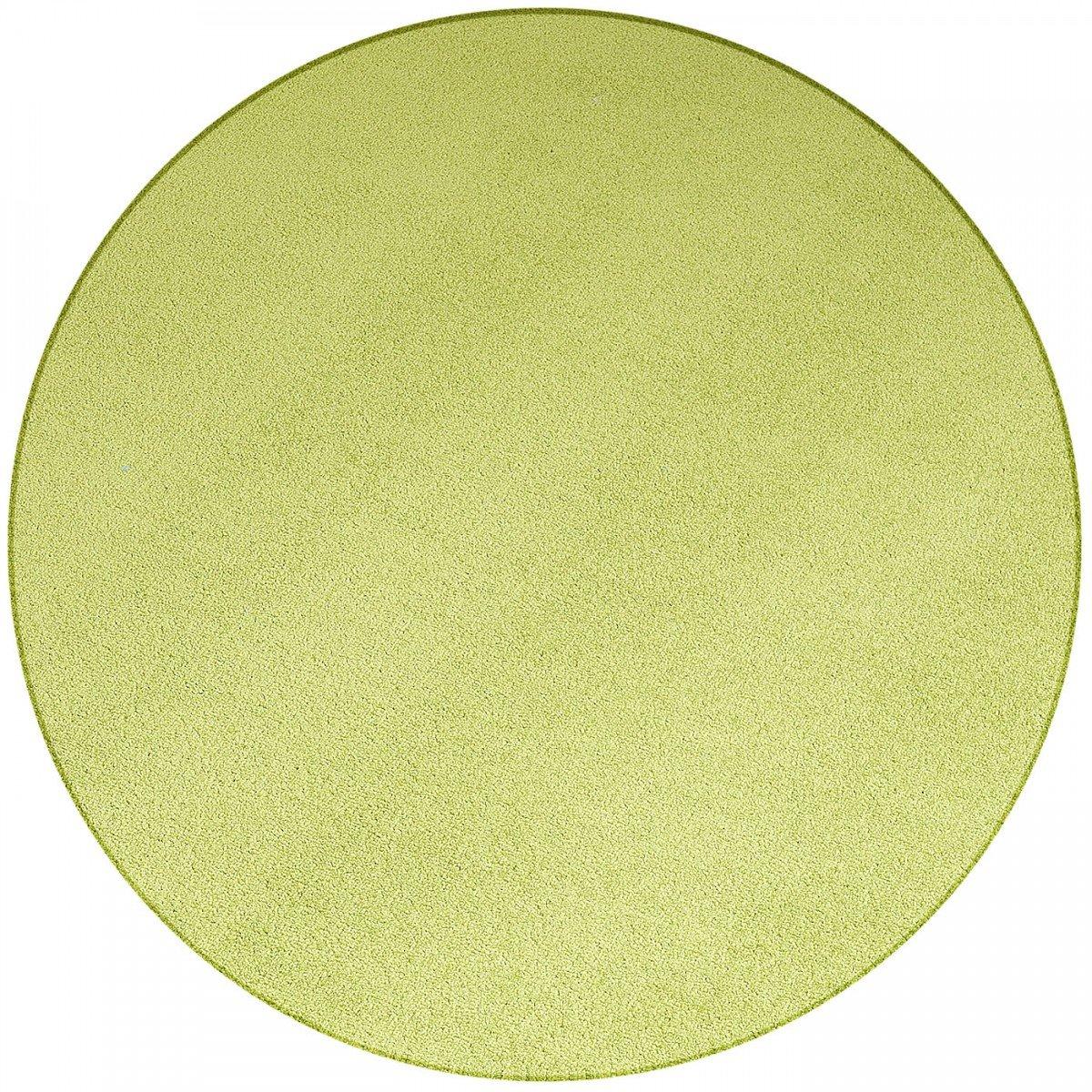 Havatex Teppich Velours Trend rund - schadstoffgeprüft und pflegeleicht   robust strapazierfähig   Wohnzimmer Kinderzimmer Schlafzimmer Küche Flur Büro, Farbe Grün, Größe 300 cm rund