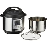 Instant Pot IP-DUO60-220 7-in-1 Electric Pressure Cooker with Tempered Glass Lid and 2 Stainless Steel Pot Grey