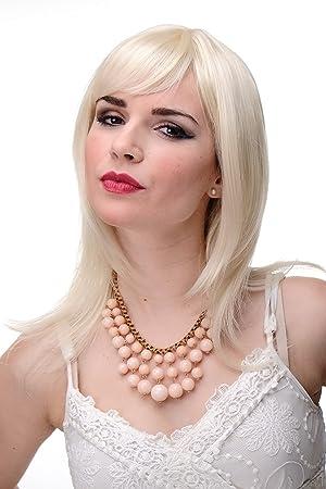 Wig Me Up Schulterlange Damen Perucke Blond Blond Mix Glatte Haare Mit Pony Ca 50 Cm 3003 303 220
