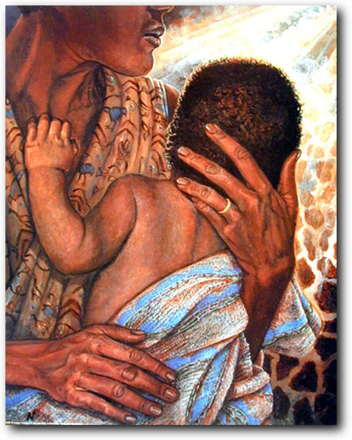African American Wall Decor Mother with Child Art Print Poster (16x20)