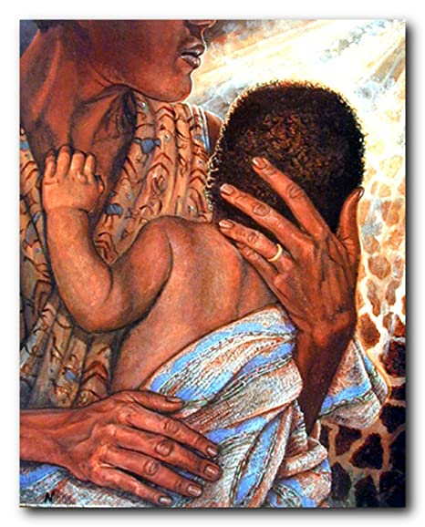 African American Wall Decor Mother With Child Art Print Poster 16x20