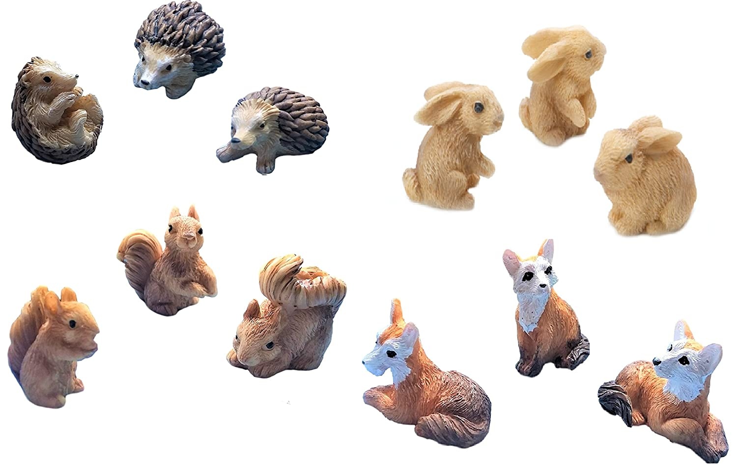 "Miniature Fairy Garden Realistic Resin Tiny 1.2"" x 1"" Squirrels, 1.5"" x 1"" Foxes, 1.25"" Hedgehogs, 1"" x 1"" x1"" Bunny Rabbits - Outdoor/House Decor - Bundle of 12 Animals - Farm Woodland Creatures"