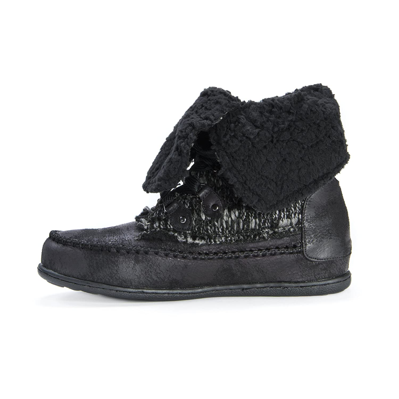 MUK LUKS Women's Lilly Lace Up Boot B00VLY0QXU 9 B(M) US|Black