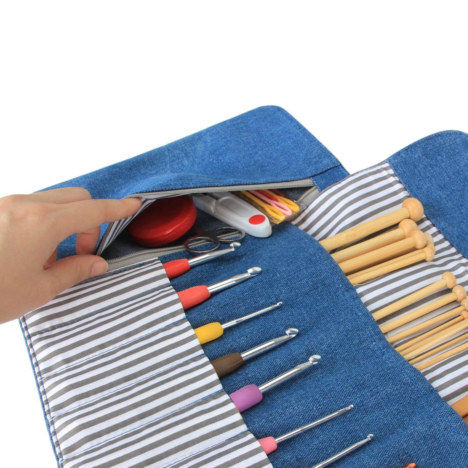Luxja Knitting Needles Organizer, Rolling Bag for Knitting Needles (up to 10 Inches), Crochet Hooks and Accessories (No Accessories Included), Blue by LUXJA (Image #4)