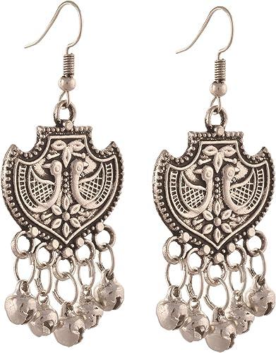 Zephyrr German Silver Jhumka Earrings Carved Floral /& Peacock Design Dangle Drop