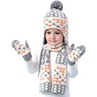 Niños Niñas gorro bufanda Guantes de punto 3pzs Conjunto Invierno 6 meses a 8 años Bebé Sombrero gorra térmico Pom-Pom…