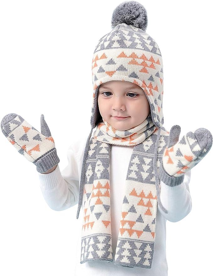 ANIMQUE Cappello Sciarpa Guanti lavorato a maglia Bambino 3 Pezzi Set Invernale 0-8 Anni Ragazzi Ragazze Doppio Strato Caldo Cotone Beanie Fazzoletto da Collo Manopole Muffola Motivo Stella