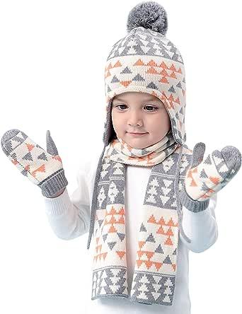 Niños Niñas gorro bufanda Guantes de punto 3pzs Conjunto Invierno 6 meses a 8 años Bebé Sombrero gorra térmico Pom-Pom pañuelo manoplas cálido Triangulos Motivo