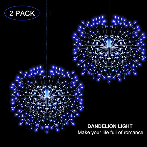 LED String Lights, Starburst Firework Light 8 Modes Dimmable with Remote Control, Battery Operated Hanging Fairy Lights with 150 LED, Decorative Wire Lights for Christmas Bluewhite-2 Pack