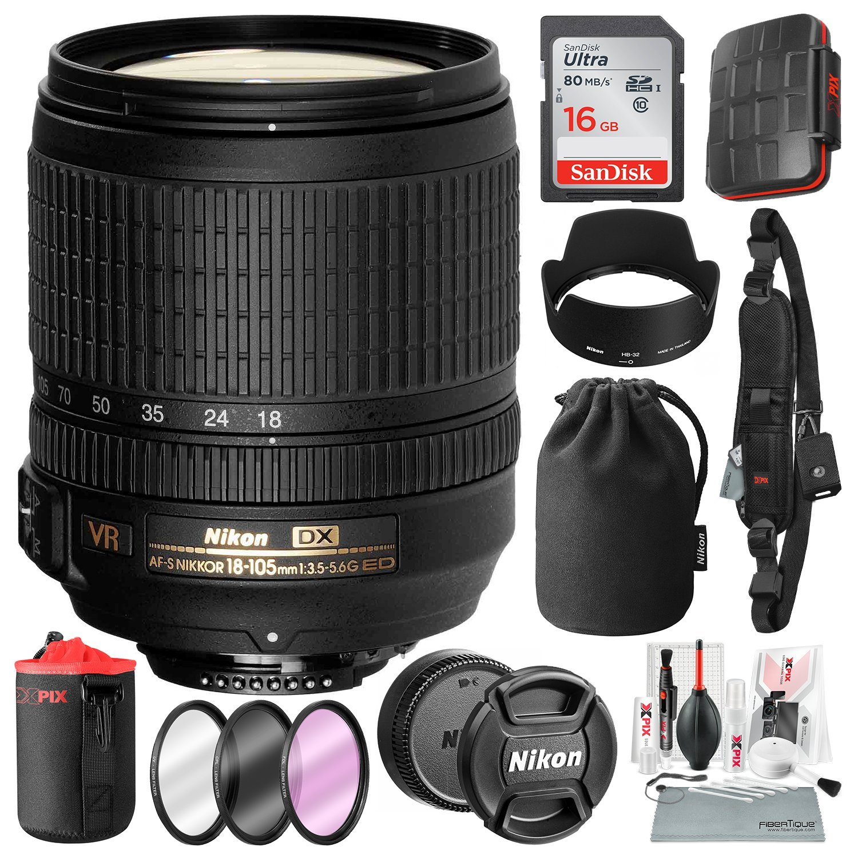 Nikon AF-S DX NIKKOR 18-105mm f/3.5-5.6.6G ED VR Lens with 16GB Memory Card, Xpix Pro Shoulder Strap, Water-Resistant Card Case, Xpix Camera Lens Cleaning Kit, and Platinum Bundle