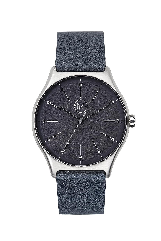 slim made one 05 - Extra dÜnne unisex Uhr in silber - schwarz