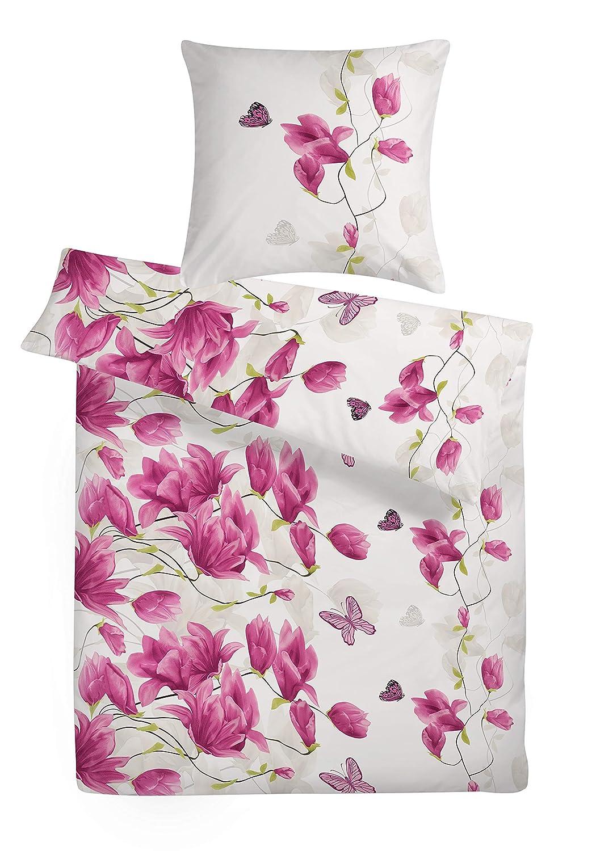Carpe Sonno kuschelige Biberbettwäsche 200 x 200 cm Weiß Lila Rosa Blumen - Winterbettwäsche mit Reißverschluss aus 100% Baumwolle Flanell - Bettwäsche Set 3-TLG mit 2 Kopfkissen-Bezügen