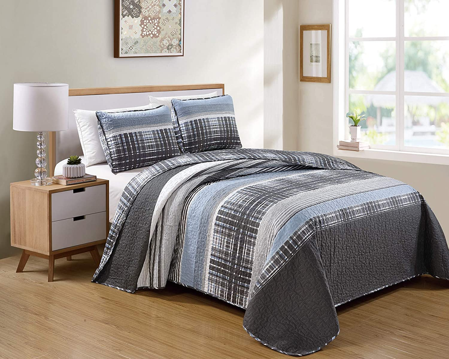 Luxury Home Collection 3 Piece King/California King Quilted Reversible Coverlet Bedspread Set Modern Plaid Blue Gray White