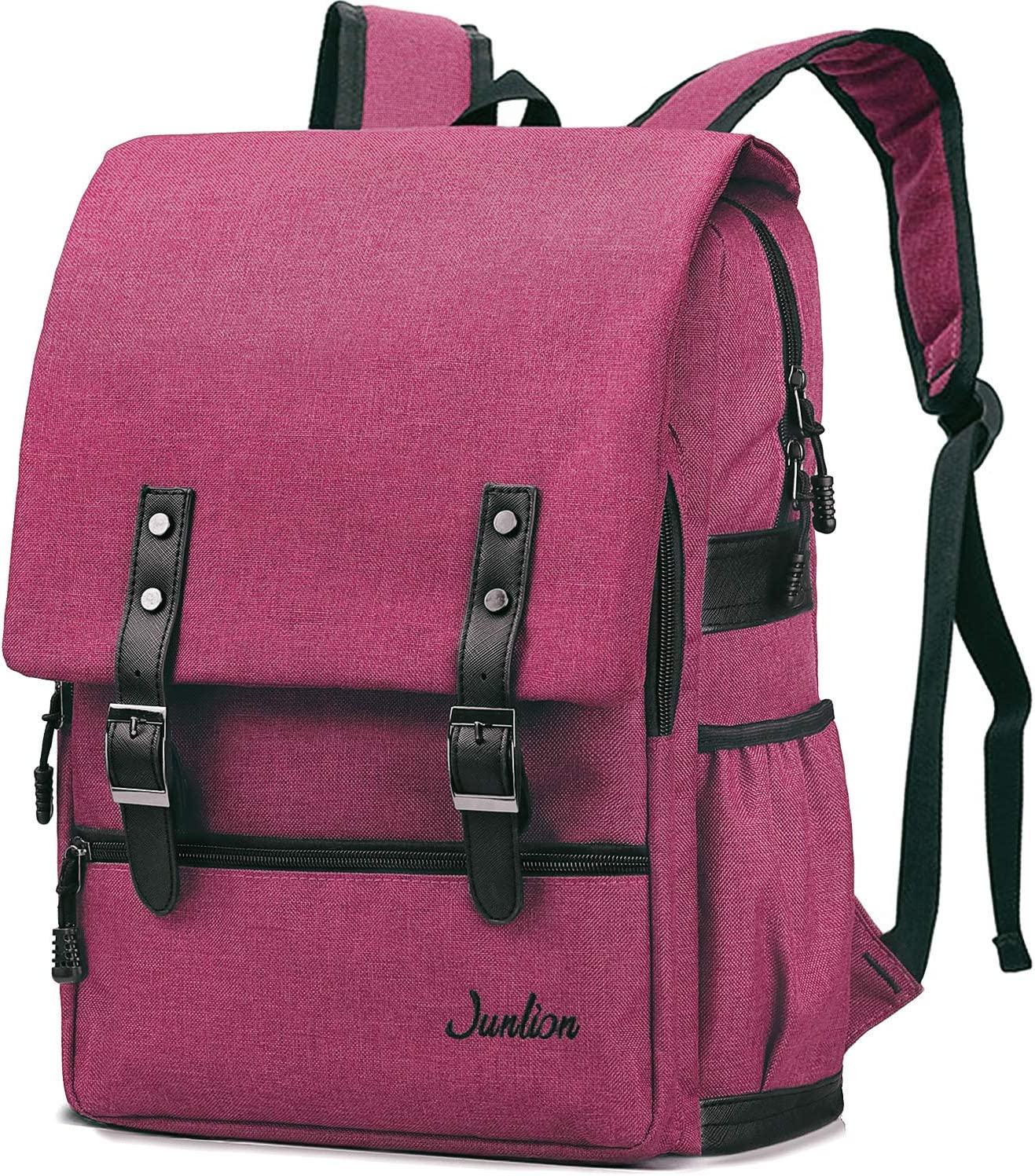 Junlion Solid Color Laptop Backpack for College Student Casual Rucksack Canvas Travel Bag for Preppy Freshman Wine Red