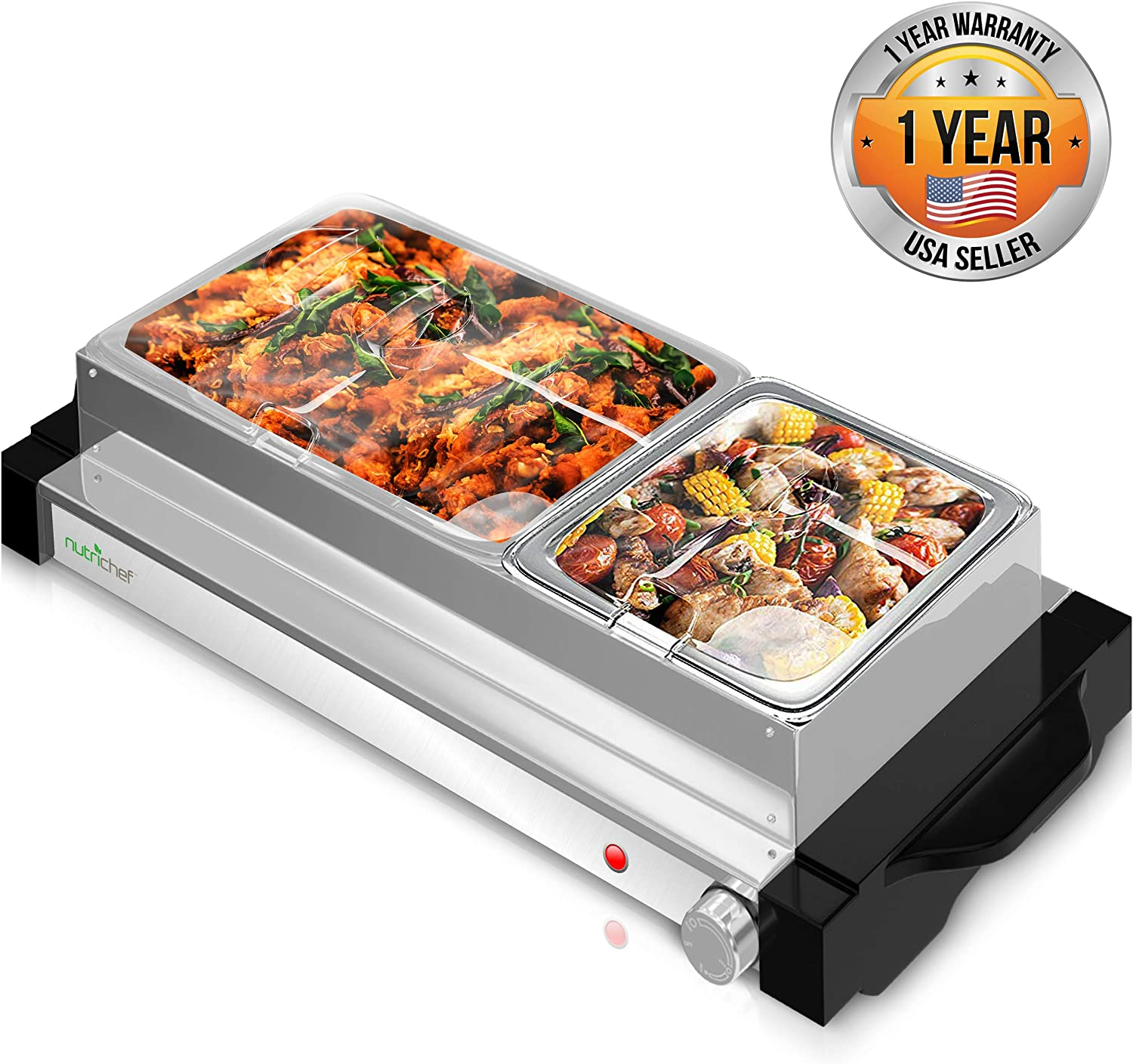 NutriChef PKBFWM25 Hot Plate Food Warmer-Dual Buffet Server Chafing Dish Set, Portable Countertop Stainless Steel Electric Warming Tray w/ 2 Section 1.6, 3.2, Large, Black