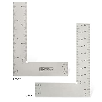 StewMac Luthiers Precision Square with Flat Profile for Tight Spaces Parts Measuring and More Made of Satin Chrome Steel for Instrument Work Tool Set-up